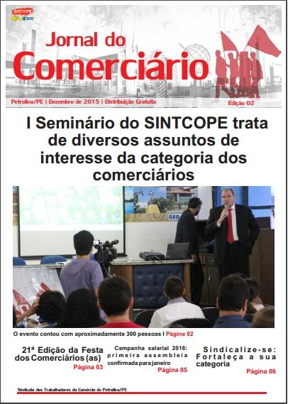 Foto do jornal Sintcope Jornal do Comerciário - Dezembro de 2015