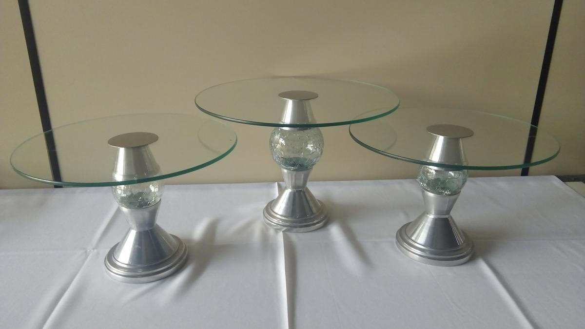 Kit de vidro 3 peças c/ pé alumínio - Foto 1
