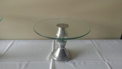 Suporte de vidro c/ pé alumínio (médio) - Foto 1