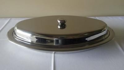 Travessa aço inox oval funda c/ tampa 60CM - Foto 1