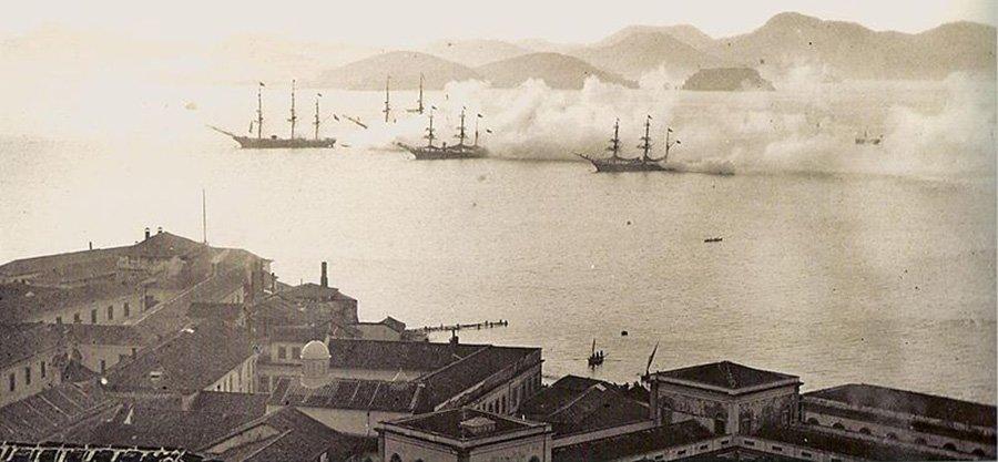 Exercício da Marinha brasileira 1870