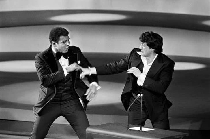 Ali e Stallone simulando uma luta Oscar 1976