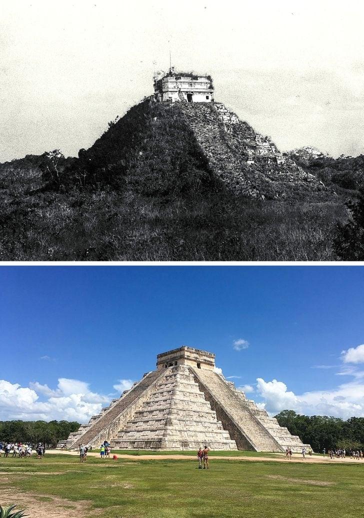 Chichen Itza no México em 1892 e agora