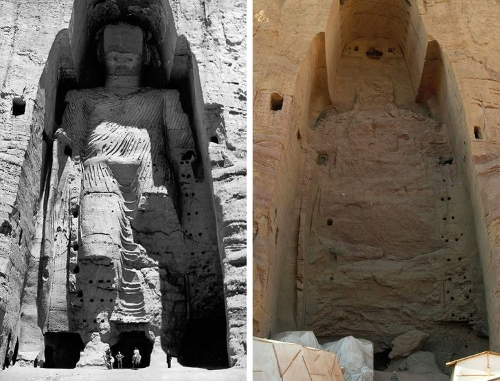 Buda Bamiyan no Afeganistão, em 1963 e agora