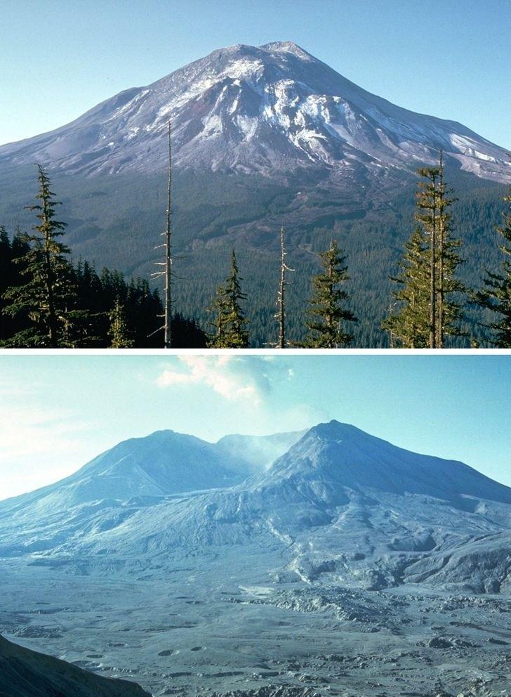 Monte Santa Helena no dia anterior à erupção