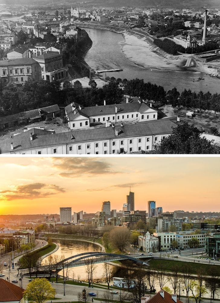 Vilnius, Lituânia entre 1915-1920 e agora