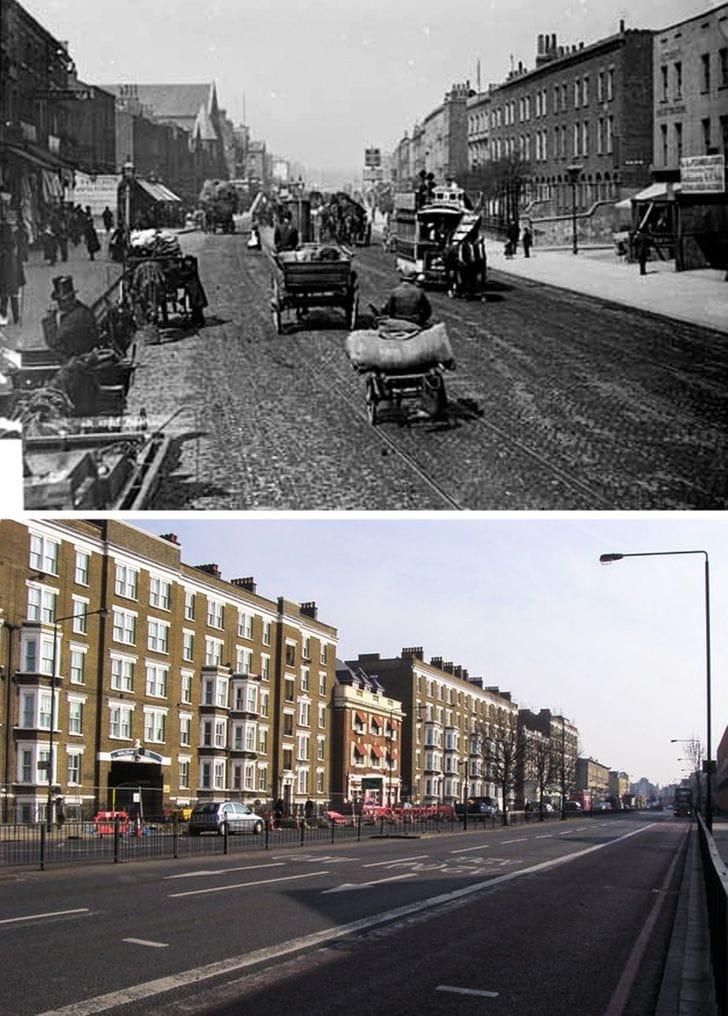 Old Kent Road, Londres em 1885 e agora