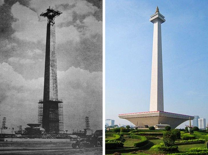 Monumento Nacional em Jacarta 1963 e 2010