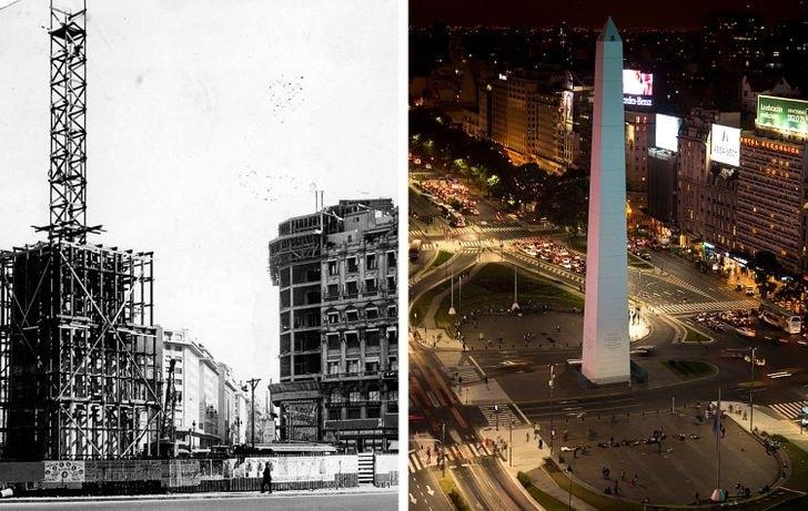 Obelisco de Buenos Aires em 1936 e agora