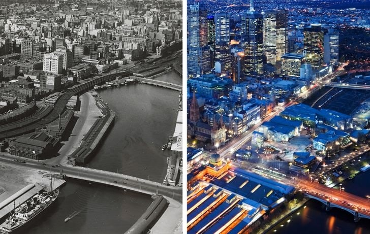 Melbourne, final dos anos 1930 e agora