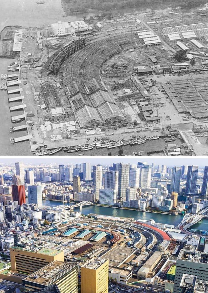 Mercado de peixes de Tsukiji, 1926 e agora