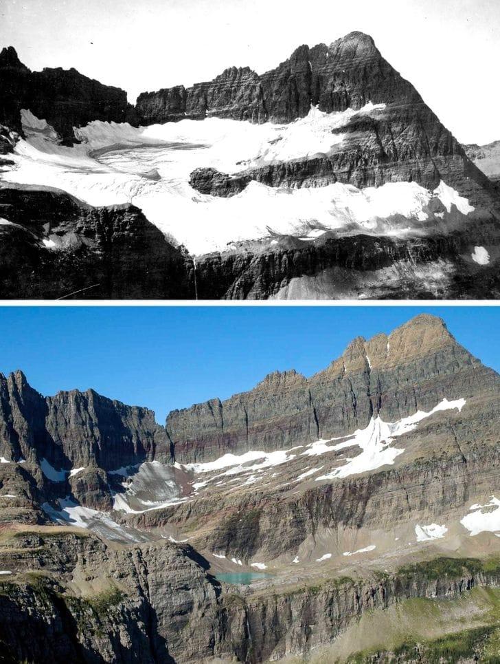 Shepard Glacier, EUA em 1913 e 2005