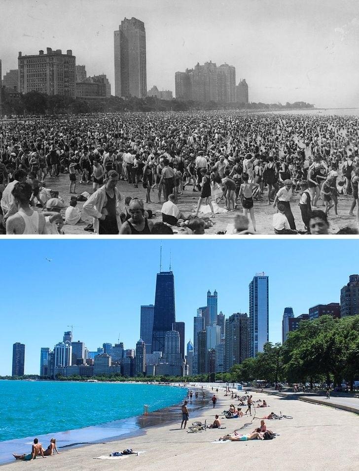 Oak Street Beach, Chicago, EUA em 1925 agora