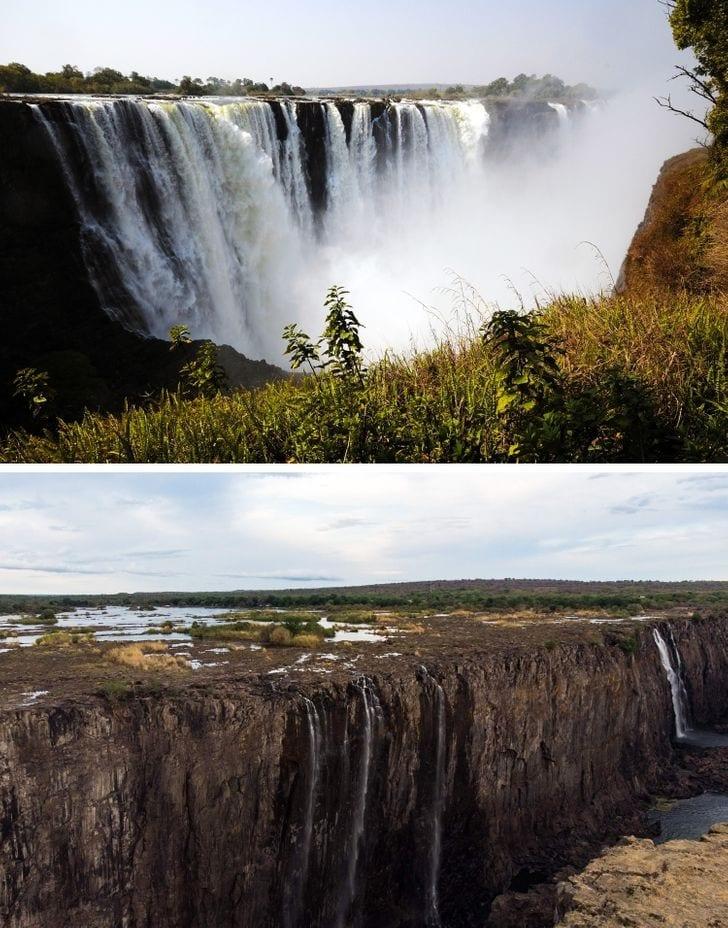 Main Falls em Victoria Falls em 2015 e agora