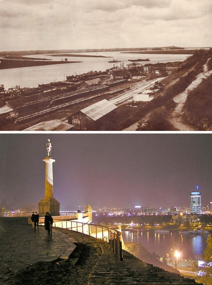 Rio Sava no Danúbio, Belgrado 1925 e hoje