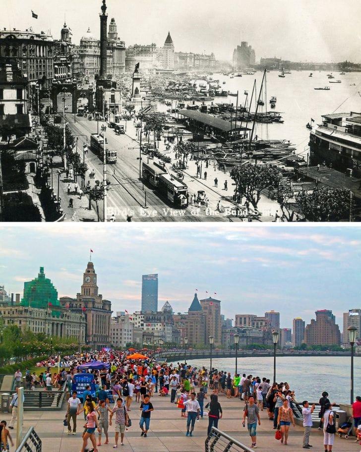 Xangai, China na década de 1920 e agora