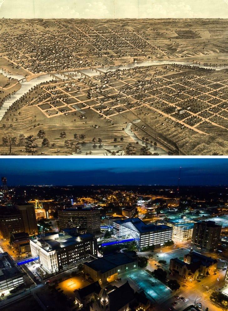 Des Moines, Iowa em 1868 e agora