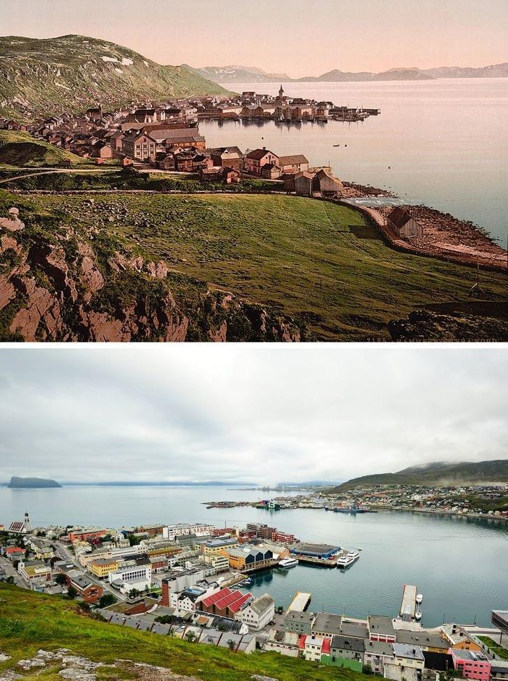 Hammerfest City, Noruega 1890 e agora