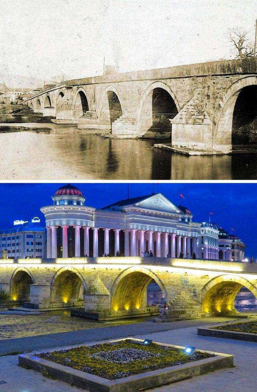 A ponte de pedra em Skopje, Macedônia e agora
