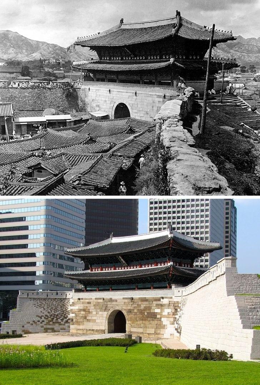 Portão Sungnyemun em Seul, em 1904 e agora