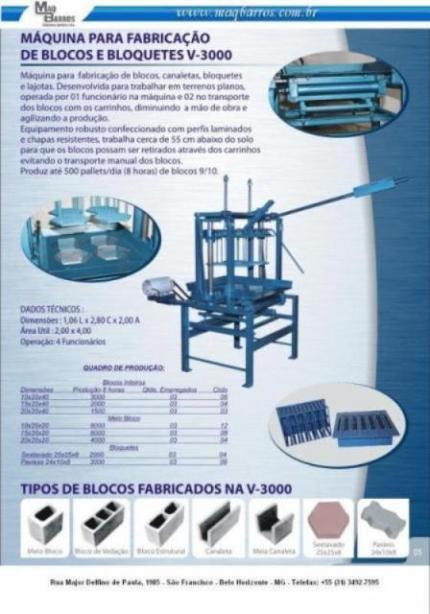 Maquina para fabricação de blocos e bloquetes MB 3 - Foto 1