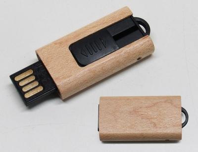 Pen Drive de Bambu Retrátil-DO1776 - Foto 1