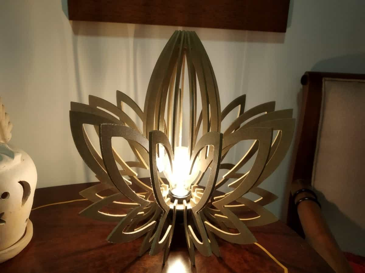 Abajur Luminária De Mesa | Flor De Lotus