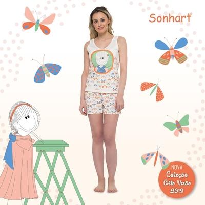 Pijama Curto Regata e Short Sonhart - Foto 1
