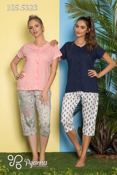 Pijama MM Abertura Frontal com Capri - Foto 1