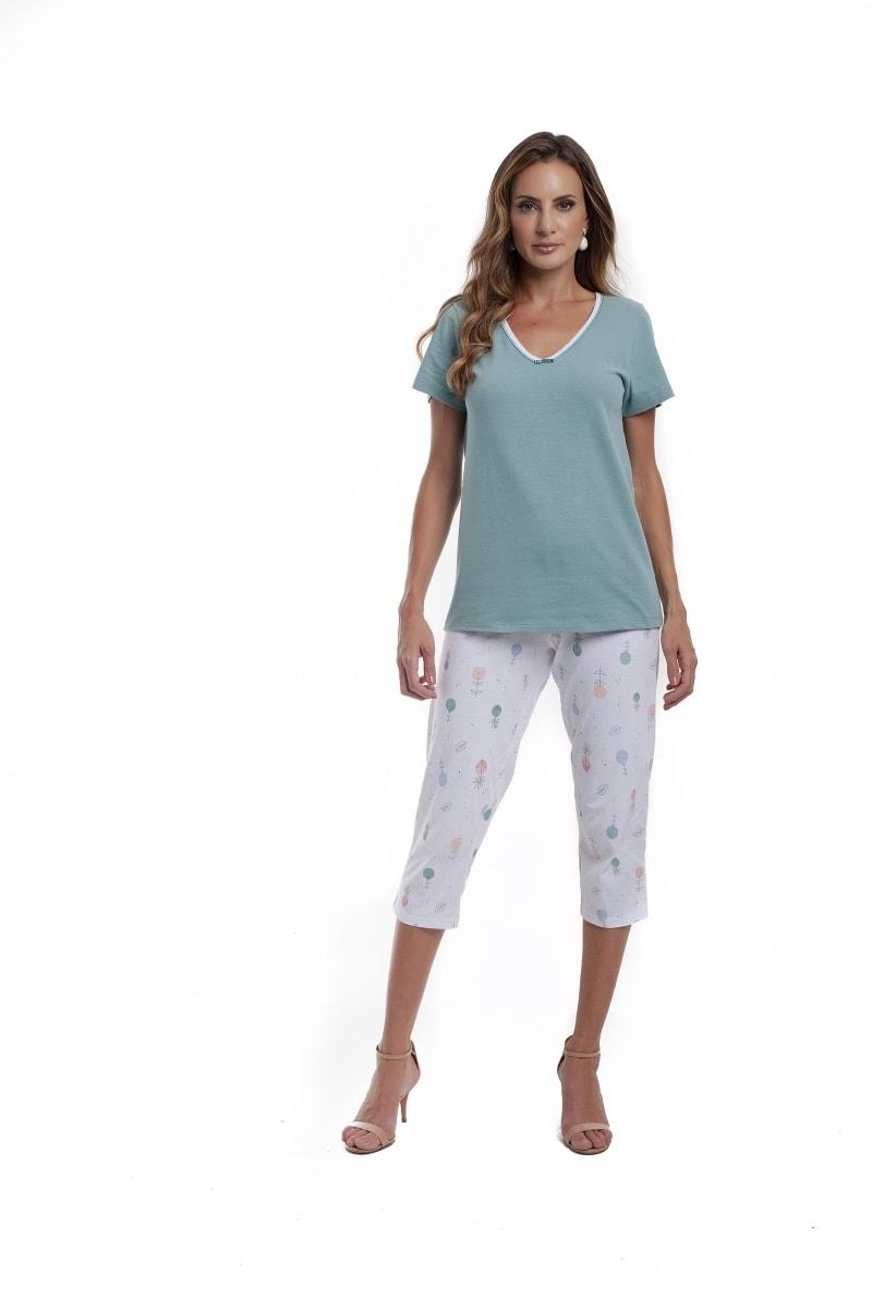 Pijama manga curta com corsário - Foto 1