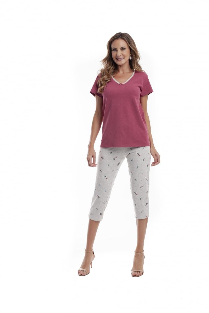 Pijama manga curta com corsário - Foto 2