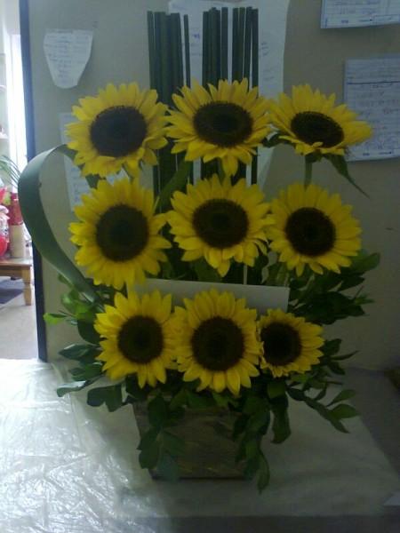 Arranjo floral de girassol