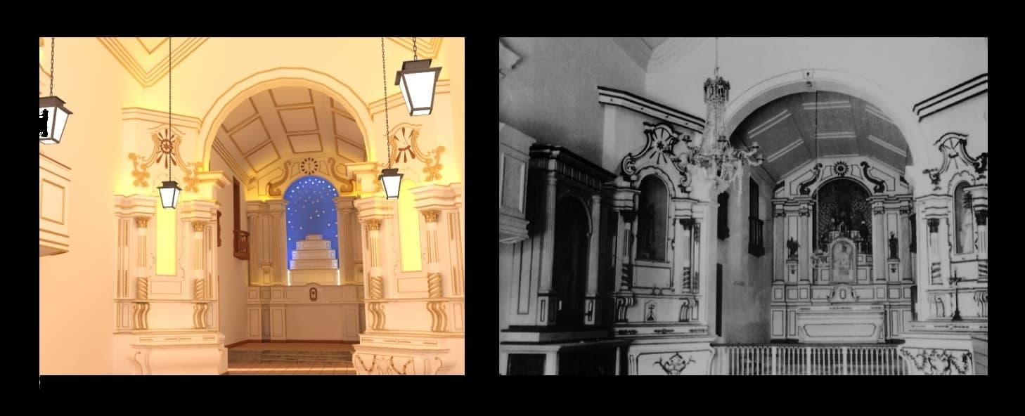 Altares e púlpito e foto antiga