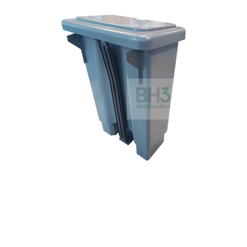 3656-LIXEIRA RET PLASTICA C/PEDAL E ARO 50L CINZA - Foto 2