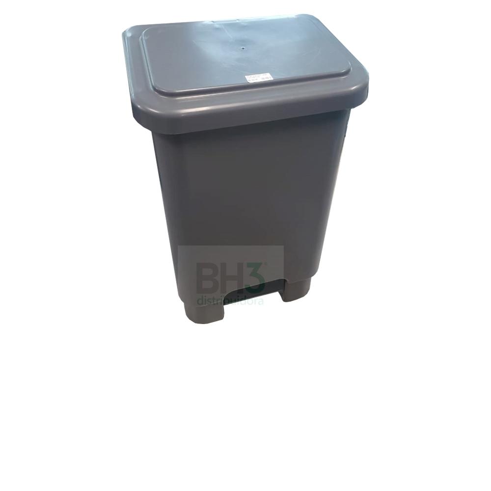 3656-LIXEIRA RET PLASTICA C/PEDAL E ARO 50L CINZA - Foto 1