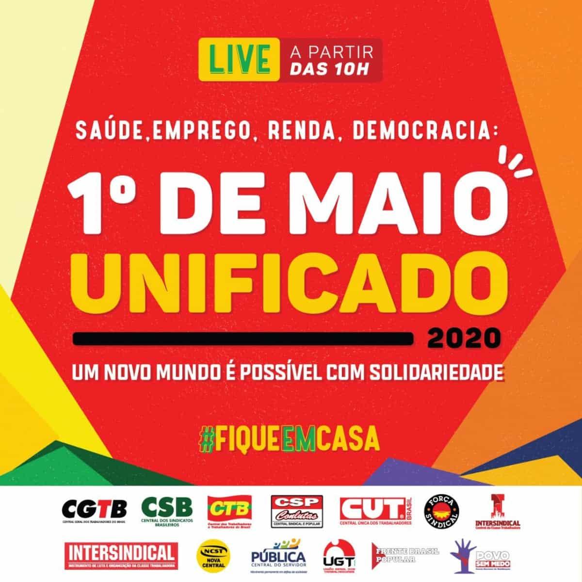Imagem da notícia Centrais celebram 1º de Maio em evento on-line