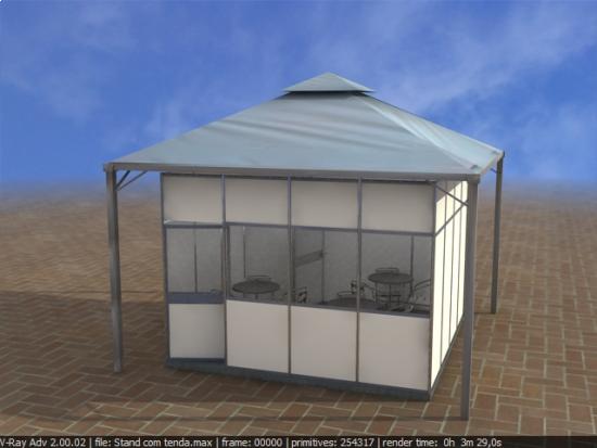 Sala fechada com tenda