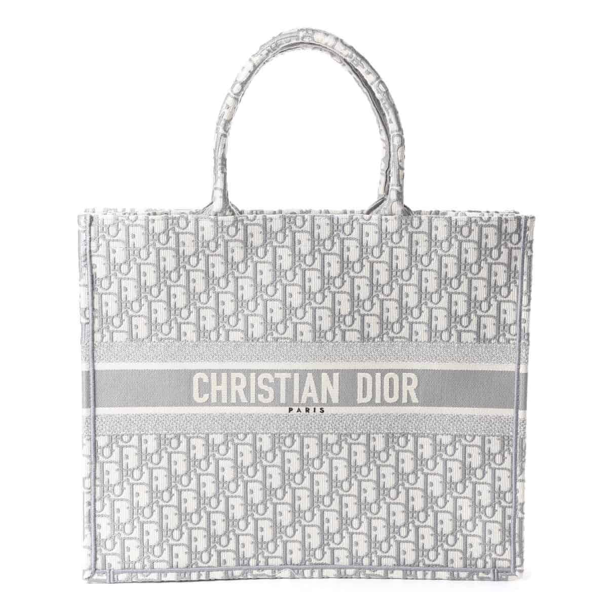 BOLSA DIOR BOOK TOTE CANVAS EMBROIRED CINZA - 2.790,00 10 X 279,00