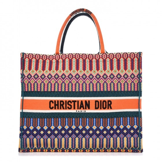 BOLSA DIOR BOOK TOTE CANVAS MULTICOLOR LARANJA - 2.790,00 10 X 279,00